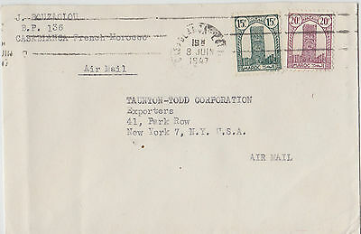 1947 Casablanca Roller Cancellation Morroco  Commercial Airmail Cover To Ny Usa