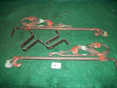 "VINTAGE-OLD -ANTIQUE Art Deco Cast Iron Swing Arm Extending Curtain Rods 16""-22"""