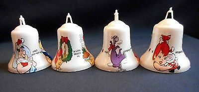 Lot 4 Flintstones Bell Christmas Ornaments 1975 Wilma, Fred, Dino, Pebbles