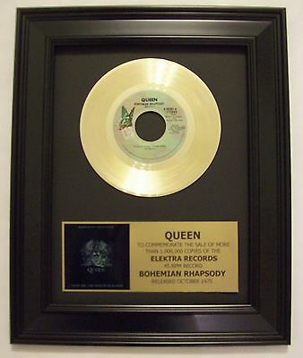 Queen BOHEMIAN RHAPSODY Gold 45 Record Disc + Mini Album Sleeve Not a RIAA Award