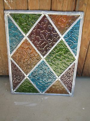 Antique Gothic Craftsman Tudor Mission Leaded Textured Glass Panel 11x14 WOW