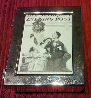 Small Norman Rockwell silver jewellery trinket picture frame box.