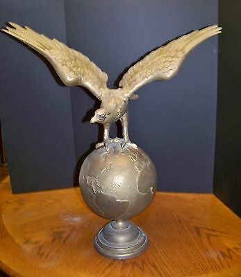 Vintage ALL Brass Eagle on the World Globe Stand Wingspan 21 inches