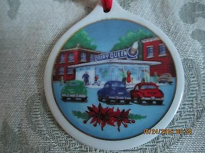1998 Dairy Queen Happy Holidays Christmas Ornament~Porcelain With Red Ribbon