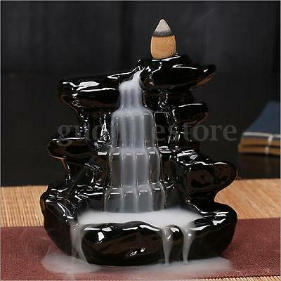 Black Waterfall Ceramic Incense Burner Backflow Censer Tower Holder with 10 Cone