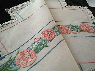 Unique Shaped Coral Tulips & Teal ~ Vintage Hand Embroidered Centrepiece/mat