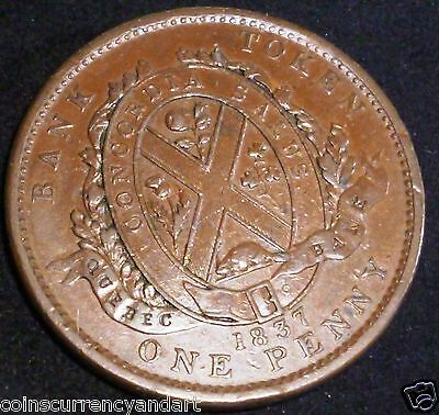 1837 Lower Canada  Penny Token  Lc-9B2 . Large Ground