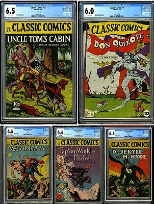 Classic Comics 1st Editions & 2nd Editions CGC Graded 1943 #11-15