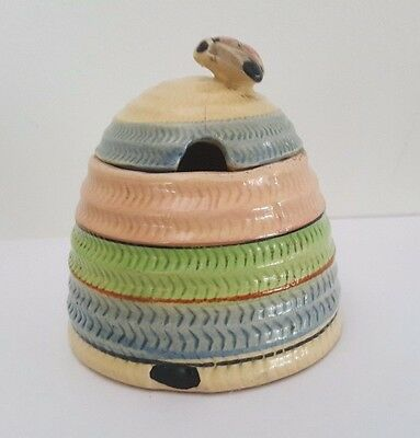 Vintage Pottery Bee Honey Pot - Japan