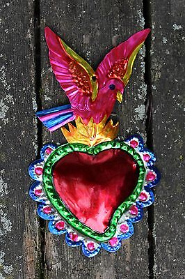Mexican Folk Art - Tin Ornaments Milagros - Bird on Flaming Heart, Love Token!