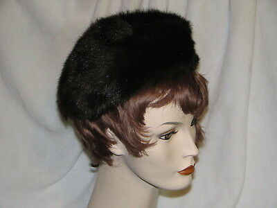 Faux Fur Baret Set of two (2) Brown Made in England circa 50's