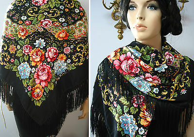"Russian Ukrainian Gypsy Shawl Floral w/Fringes 49""/125cm Black 80%Wool NWT #98c"