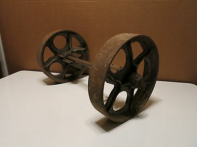 Vintage Factory Industrial Rail Road Cart Wheels With Axle Cast Iron Steel