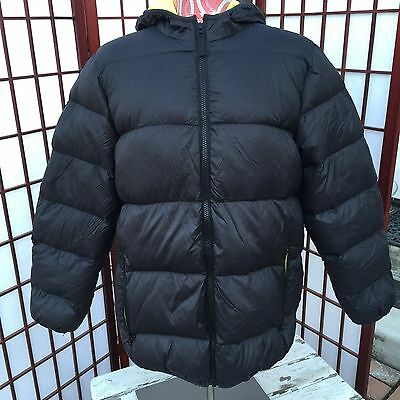 Triple Star Boys Black Down Filled Puffer Jacket Coat Hooded Size Large