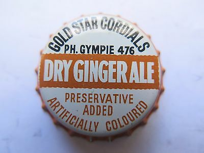 Crown Seal Bottle Cap Gold Star Cordials Dry Ginger Ale Gympie Qld Aust Mint