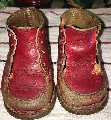 ¥•Vintage Red All Leather Doll-Baby Shoes•¥ To Fit Large Doll