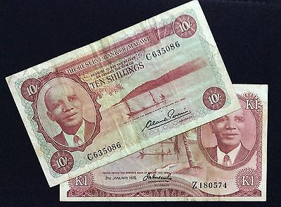 Malawi Pic 2a, 10c. 10 Schillings and 1 Kwacha.