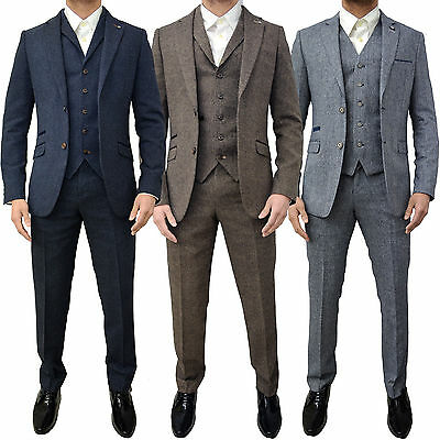Mens Cavani 3 Piece Designer Vintage Tweed Herringbone Slim Tailored Fit Suit