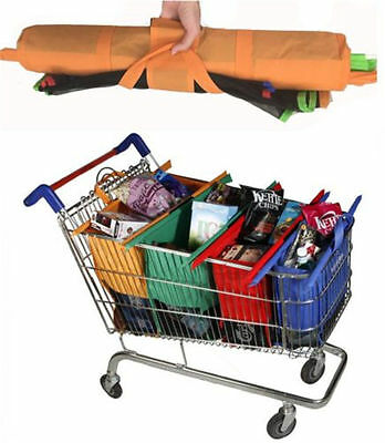 4 pcs 1 set Reusable Eco Grocery Cart Surpermarket Shopping Trolley Carrier Bags
