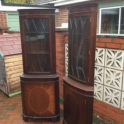 2 Mahogony glass bow fronted corner display cabinet