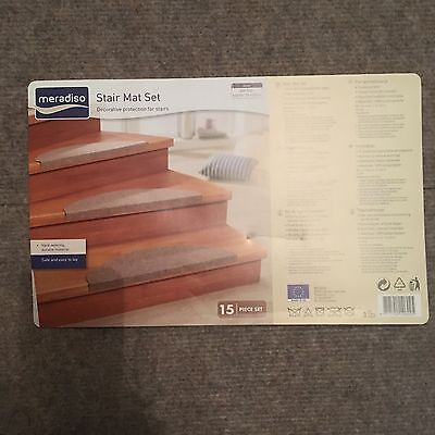 MERADISO STAIR MAT SET Light Brown 15 PIECES APPROX 28 X 65CM STAIRS CARPET