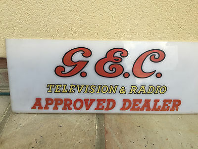 Vintage G E C electric television and radio dealer advertising sign not enamel