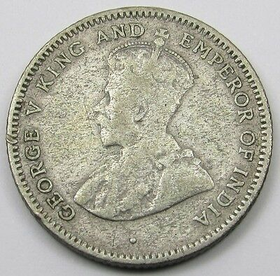 CEYLON  - KING GEORGE V SILVER (.550)  25 CENTS COIN dated 1925