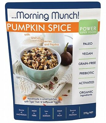 3 X POWER SUPER FOODS Morning Munch Pumpkin Spice 275g