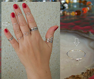 """925 Sterling Silver, """"Charming ball"""" 1mm Band Midi Ring  Above Knuckle Ring."""