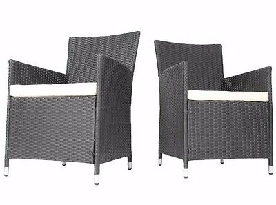 Miadomodo Set of 2 Rattan Chairs with Seat Cushions (Grey) Outdoor Garden Patio