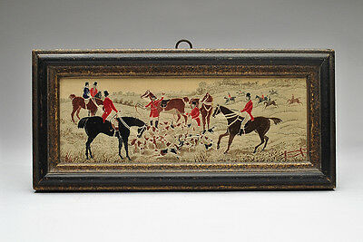 Antique Textile 19th Century Silk Embroidery Fox Hunt