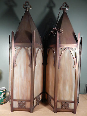 Pair Large Antique Copper Colored 6 Panel Slag Glass Gothic Hanging Lights