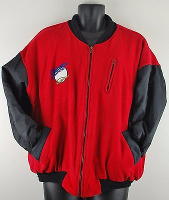 Chicago 'Hit Em Hard' Red Bomber Style Baseball Jacket Made In UK Mens Large