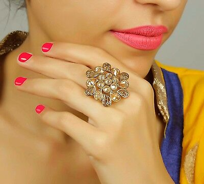 RN-716 Indian Traditional Ethnic Crystal Adjustable Ring Bollywood Party Jewelry