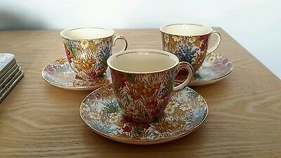 Royal Winton Grimwades Chintz Marguerite. 3 Cups And Saucers
