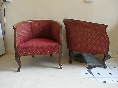 Pair of Edwardian-style antique tub chairs FOR REUPHOLSTERY