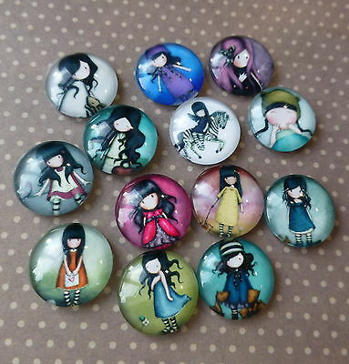 20 pcs  Glass Domed Round Cabochons little girls, mix pattern, 16mm