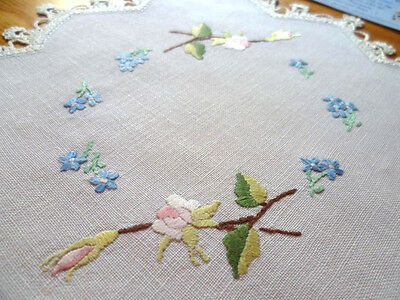 Pink Roses/ Buds & Blue For-get-me-not Flowers - Hand Embroidered Doily