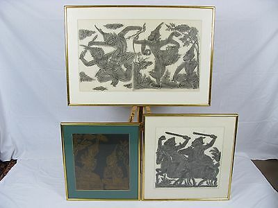 Three Vintage South East Asian Rubbings / Print Framed - Mid 20th c. *Delivery*