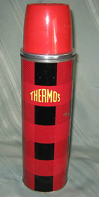 Large Vintage Polly Red Top Red Black Plaid Thermos - Thermos Bottle Co Ltd