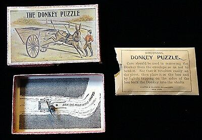 Boxed Set - Donkey Puzle Chaffee & Selchow 1897 - Dexterity Game