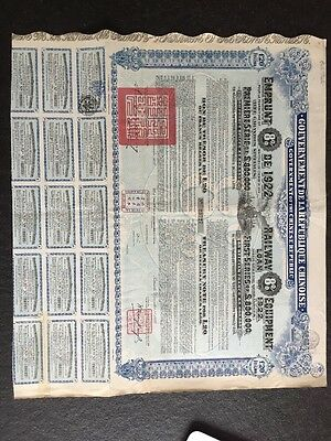 Railway 8% Equipment Loan of 1922 - Goverment of the Chinese Republic