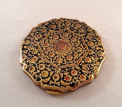 ANTIQUE ENAMEL POWDER COMPACT,  Stamped Made in England,Sratton
