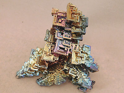A BIG! GREEN PINK PURPLE BLUE & Gold BISMUTH Crystal Germany 216.4gr