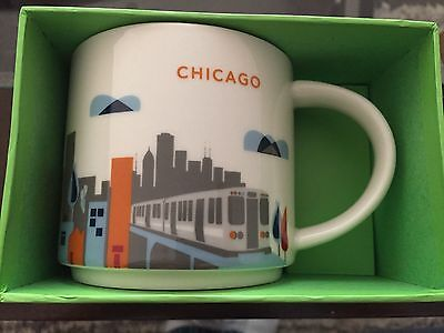 "STARBUCKS CHICAGO MUGS YOU ARE HERE ""FREE SHIPPING, 14oz. New in Box"