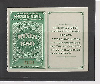USA 1916 Wines Revenue Stamp with tablet #RE58