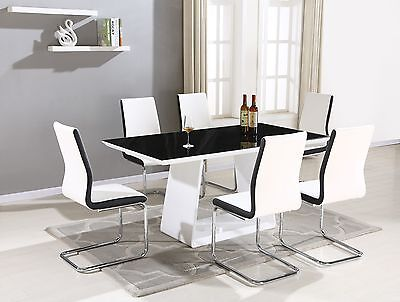 Regal Glass Dining Table Set and 6 Upholstered Contrasting Faux Leather Chairs