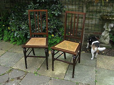 Delightful Pair of Edwardian Inlaid Mahogany Cane Bedroom Chairs 1901-1910