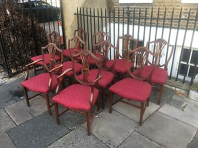 Set of Ten Edwardian Mahoghany Hepplewhite Design Antique Dining Chairs