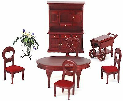 Wooden Mahogany Dinning Room Doll House Furniture Set